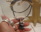 Hematite Carved Owl Pendant and Necklace with Rose Quartz Beads 1053.