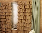 Burlap Curtains - Full Panel Ruffles