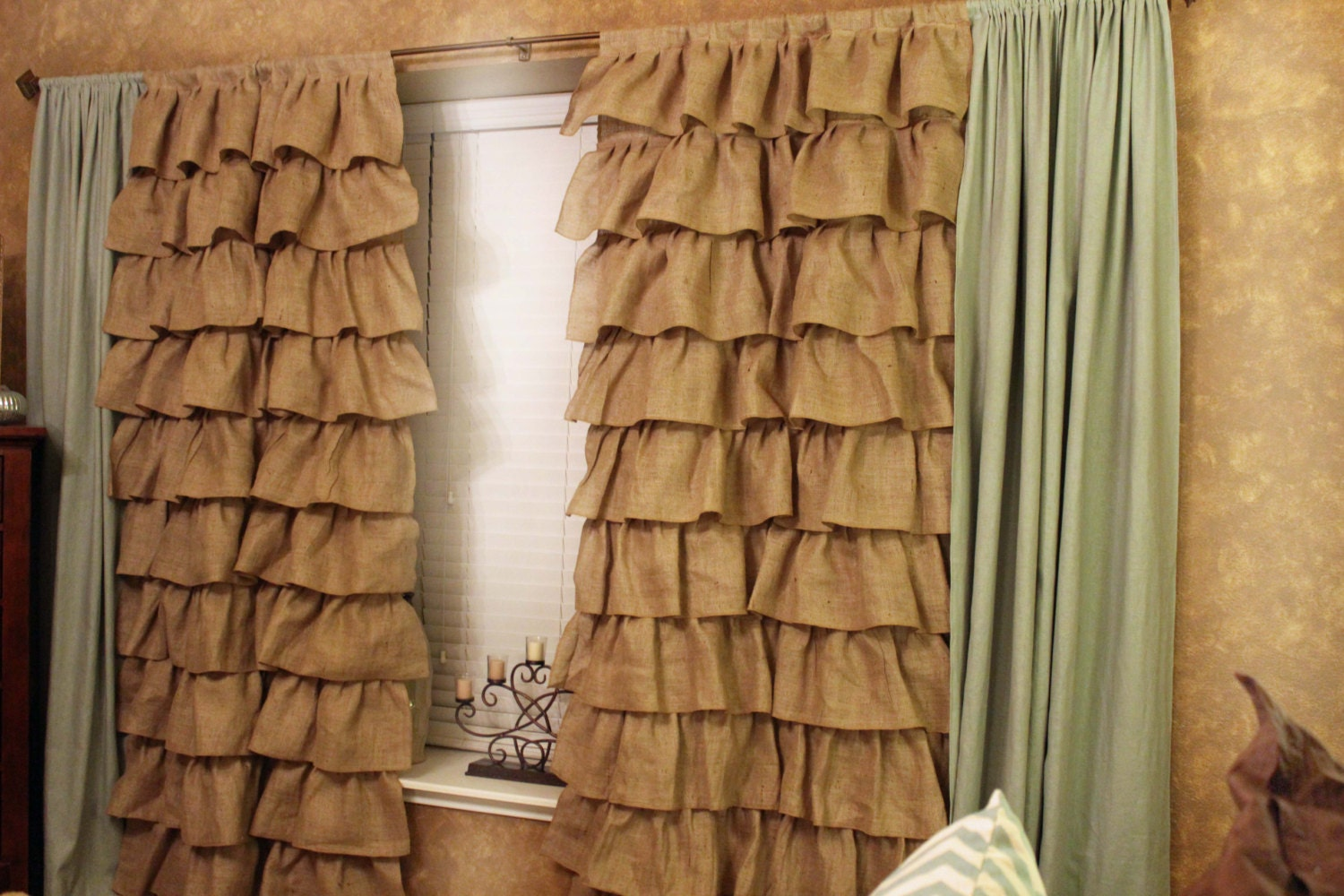 Burlap Curtains Full Panel Ruffles