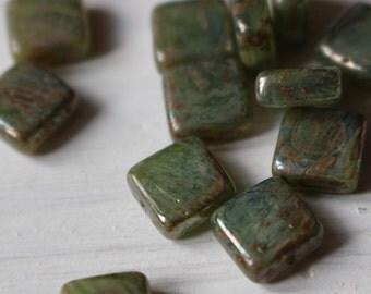 Czech 8mm glass tile beads, green