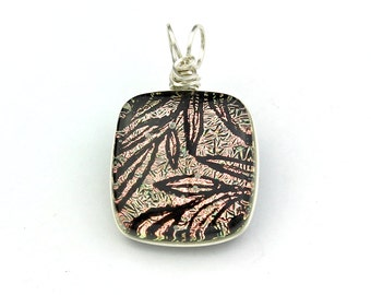 Sterling Silver Wire Wrapped Light Salmon Dichroic Pendant with Hand Drawn Black Leaves