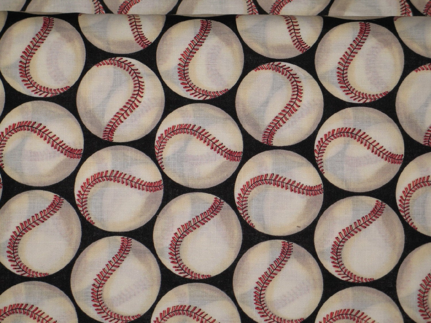 Cotton baseball fabric by the yard made by by dolldressmaker for Cotton fabric by the yard