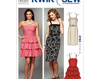 Kwik Sew 3783 - Women's Dresses - XS-S-M-L-XL - Dresses with Fitted Bodice and Princess Seams