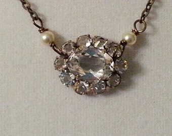 Paste Jewelry - Antique Necklace - Rock Crystal Necklace -Repurposed Brooch Necklace