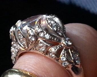 Antique Engagement Ring, Art Nouveau Engagement Ring, Antique Reproduction Floral Pattern Engagement Ring