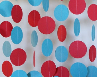 Red and Blue Paper Garland, Graduation Decorations, Birthday Party Decoration, 10 ft. long