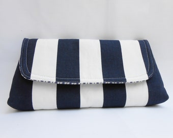 Flat Clutch Navy Blue and White