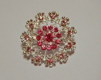 Pink and Silver Magnetic Brooch with Acrylic Rhinestones Pageant Sash Pin or Portuguese Knitting Pin in Silver
