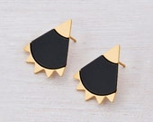 stud earrings: black and gold Stud earrings- silver plated\gold plated, cool spiky earrings.