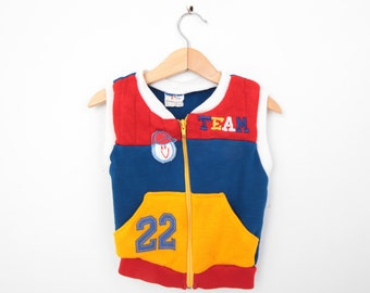 Vintage Sweater Vest with Sports Theme 3T 4T