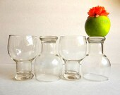 Vintage FOUR beer glasses set hollow stem drinking glasses water glasses, pedestal Retro Mid Century bar ware barware by Federal Glass