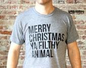 "Home Alone, ""Merry Christmas Ya Filthy Animal"" - Funny Modern Typographic Shirt Design - American Apparel - Christmas Gift - FREE SHIPPING"
