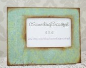 Shabby Chic Mint Picture Frame, 4X6, Wedding Centerpieces, Rustic