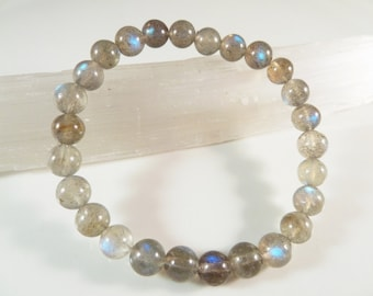 Labradorite Stretch Bracelet Natural Light Grey Smooth Polished Round 7mm Beads