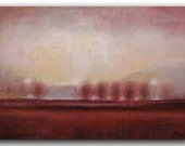 "Fine Art Large Oil Painting Landscape Painting ORIGINAL art Burgundy red gray Tree Painting wall Art Painting Oil, Dawn 36""x24"" by Tatjana"