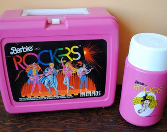 Vintage Retro Barbie & The Rockers Plastic Lunch Box with Thermos. 1987.  Great Condition!!