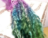 Water nymph - Extra long Lincoln locks for Dolls hair .  Blythe , Waldorf , Dollfie , artdoll dolls hair.  Uncombed long locks for spin felt