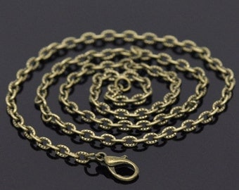 12pc 20 inch antique bronze finish patterned link ready to wear necklaces-8272E