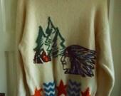 Vintage 1980s BENETTON Wool Crewneck Sweater INDIAN sz M