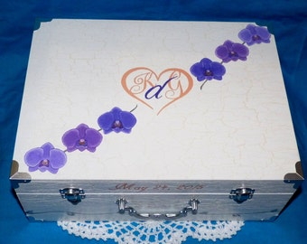 Personalized Wedding Keepsake Box Wooden Suitcase Box Destination Map Wedding Painted Custom Wood Guest Book Box White Card Box Orchid