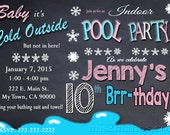 Printable WINTER POOL PARTY Invitation - Winter Birthday Invitation - Indoor Pool Party Invite - Pool Birthday Party Invitation