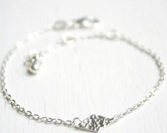Lozenge bracelet - Silver sterling hammered