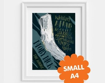 Small Moby Dick by Herman Melville poster  A4 (8,27 x 11,7)