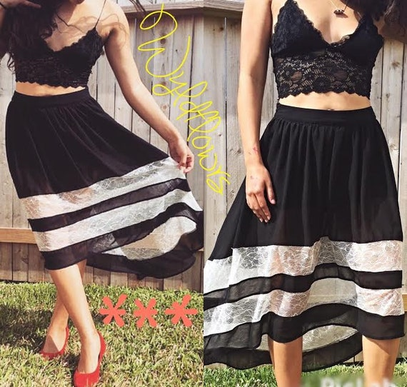 black and white lace high low skirt size small