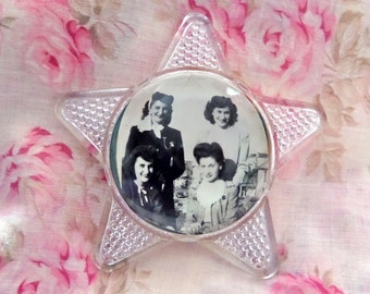 Vintage Glass Paperweight Star Photo of Sisters