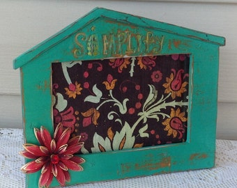 SIMPLIFY Picture Frame  - 4 x 6 Ornate Beach Green Frame with Etched Phrase