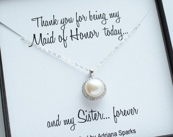 Pearl Necklace | Maid of Honor Sister Gift | Jewelry with Sentiment card