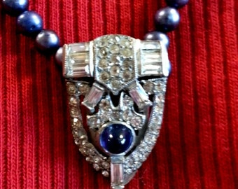 One of A Kind 24inch Navy Pearls with Antique Rhinestone and Blue Cabachon Pendant