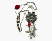 Statement Necklace. Silver Tone Costume Jewellery Assemblage. Red Beads.
