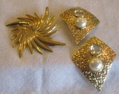 Gold Tone Clip Earrings and Pin