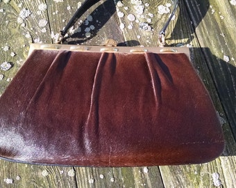 Artmex  1950s Brown  Ponyhair Leather   Top Handle Handbag