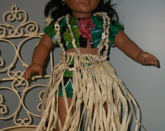 ALOHA! Hawaiian hula outfit for your popular 18 inch dolls - grass skirt top and shell necklace