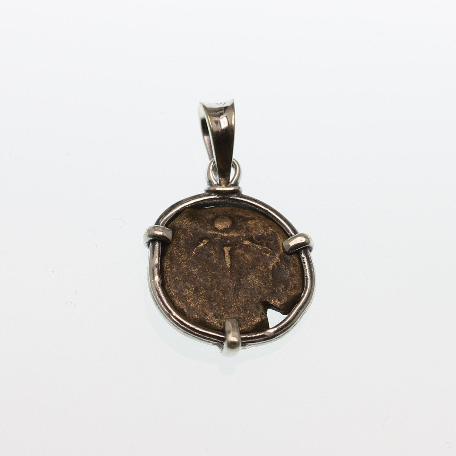 ancient coin pendant sterling silver pendant with authentic