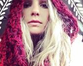 Red Handmade Crocheted Fringed Hooded Cowl,Shawl,Red Hood,Hippie Hood,