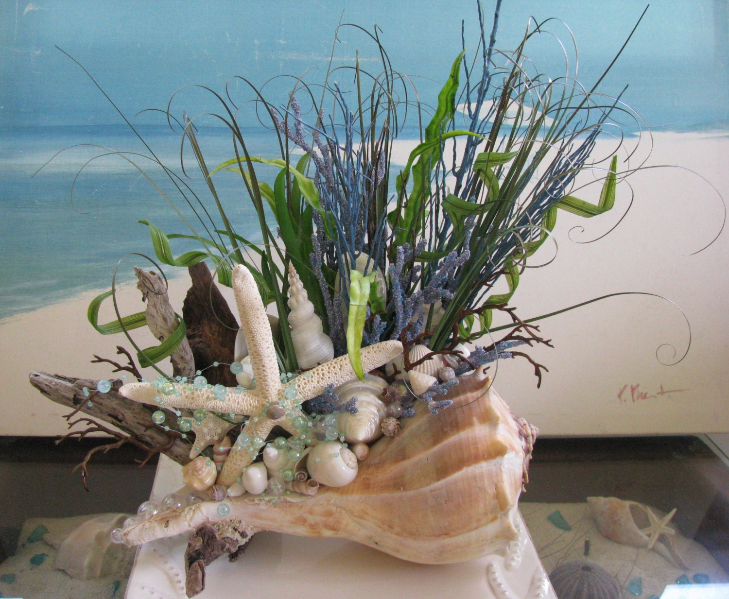 Whelk shell driftwood centerpiececoastal home decorseashell