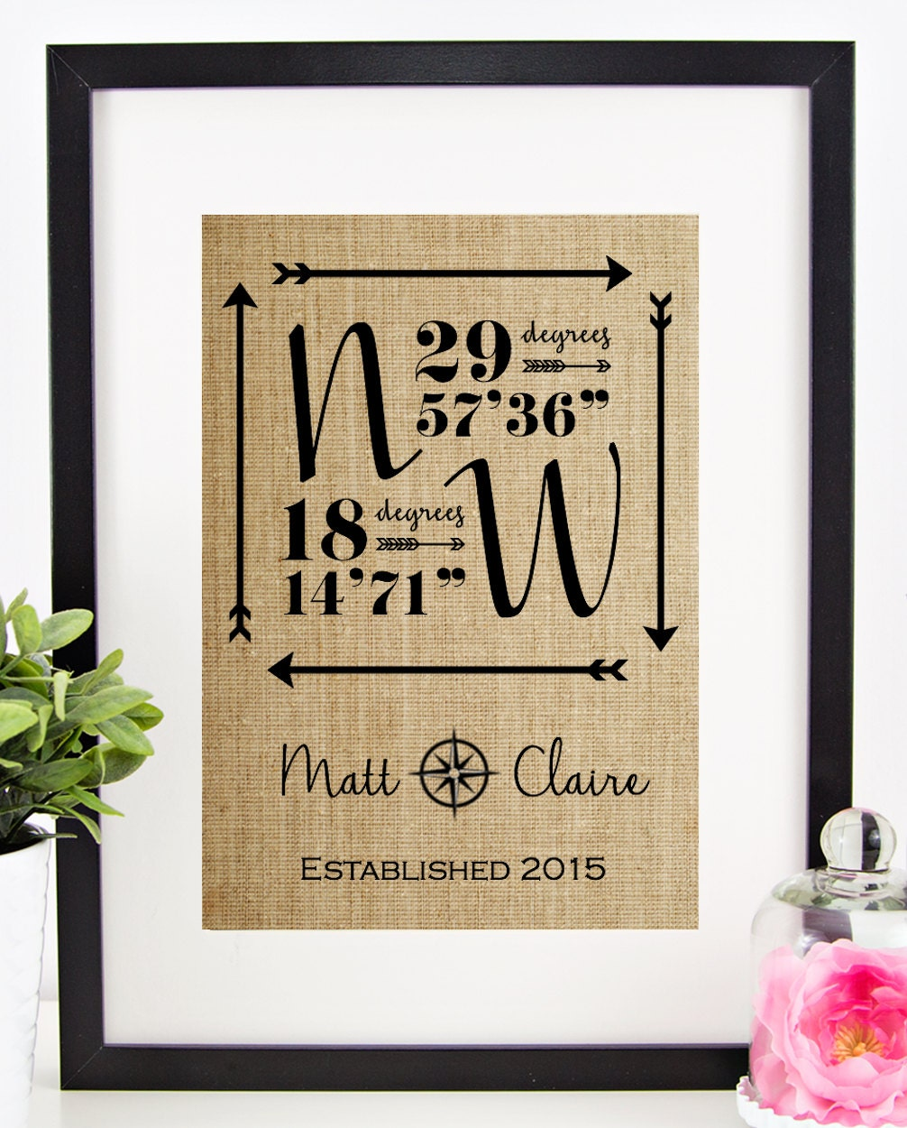 Personalized Wedding Gifts: Personalized Wedding Gift For Couple Latitude Longitude Sign