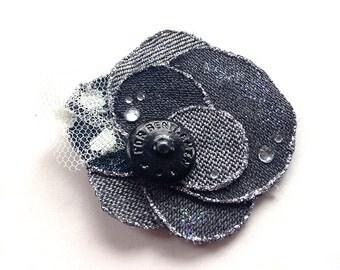 Handmade flower brooch och ahair accessory made of denim fabric, bohemian, jeans, shabby, upcycling, grey, black denim