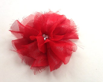 Organza flower brooch or hair piece, satin flower, handmade accessory, red upcycled fabric, free shipping