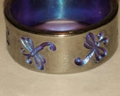 purple anodized hypoallergenic niobium ring band with hand stamped dragonfly