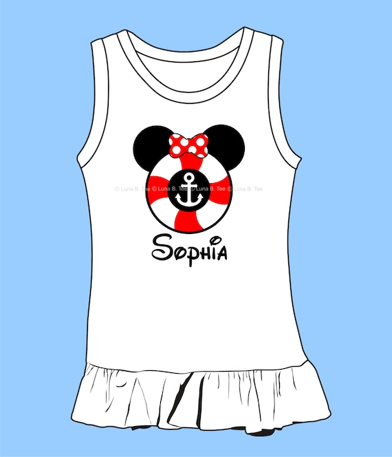 Disney Cruise  Mouse  Personalized Name Lifesaver Vacation High Quality Mickey Minnie Dress
