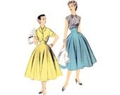 1950s 2 Piece Dress Pattern Advance 6704, High Waist Full Skirt & Sleeveless Blouse with Bolero Jacket, Vintage Sewing Pattern Bust 32