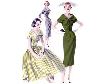 1950s Dress Pattern Butterick 7751, Dramatic Wide Portrait Collar, Dart Fitted Sheath or Bouffant Skirt, Vintage Sewing Pattern Bust 30