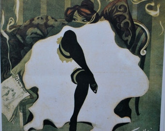Stunning Vintage French Print-Lucien-Henri Weiluc's Can-Can dancer Le Frou-Frou-Fabulous Graphics!