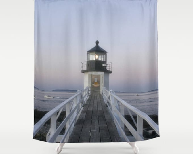 Marshall Point Lighthouse Shower Curtain, Shower Curtain, Lighthouse, Maine, Bath Curtain, Bath Decor, Photography