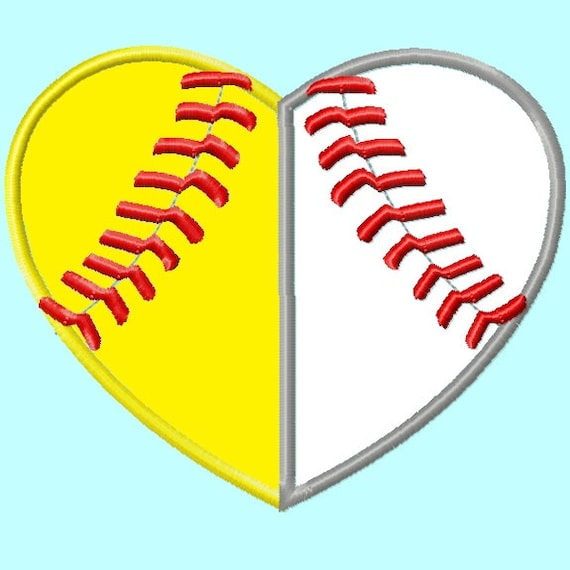 Baseball And Softball Heart Applique Embroidery Design Sizes
