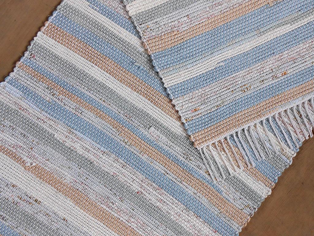 2x4 Rag Rug Blue Tan Aquamarine Floral